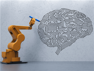 A robot drawing a brain on a white wall - artificial intelligence, machine learning concept