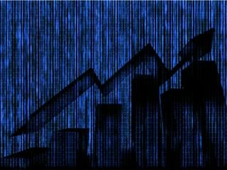 Silhouette of Economical stock market graph with binary code abstract background. Representing digital disruption in commerce and finance
