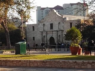 the Alamo, in the middle of San Antonio