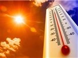 heat thermometer shows high temperature under a hot sky