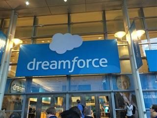 dreamforce banner on a building.