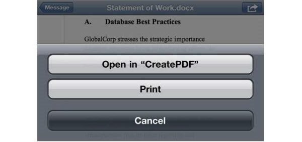Adobe CreatePDF embeds itself in the iOS