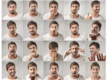 mosaic of young male customer expressing different emotions