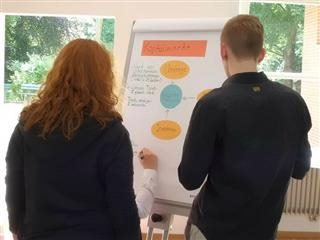 Group of three people going over a project on a whiteboard.