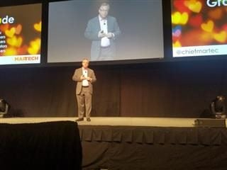 Scott Brinker, chair of the MarTech Conference East, on stage at the Hynes Convention Center in Boston during his Tuesday, Oct. 2, keynote.