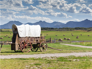 An old-fashioned wagon in a prairie background setting