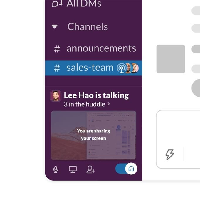 Screenshot showing Slack's new product capability, Huddles.