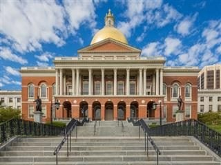 Front of the Massachusetts state capitol building in Boston.
