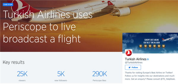 Turkish Airlines attracted 5,000 new followers with one Periscope live stream.