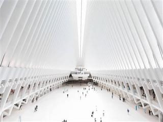 NYC Oculus, brightly lit with few people inside