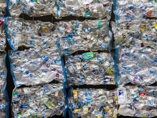 wall of plastic waste