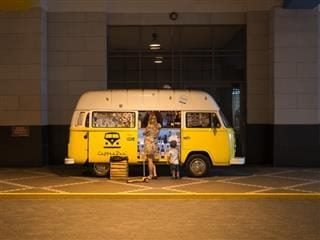 Yellow van converted to a coffee truck