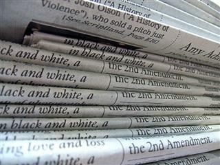 A stack of Los Angeles Times newspapers.
