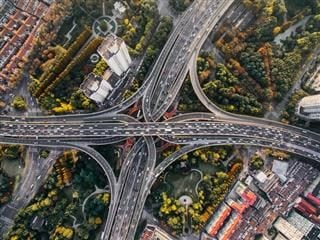 highway intersections with traffic