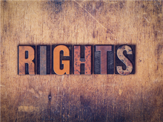 Wooden letterpress type pieces on as wooden background - Bill of Rights concept