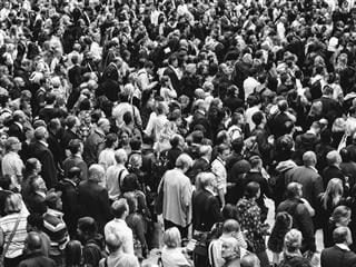 black and white photo of a crowd