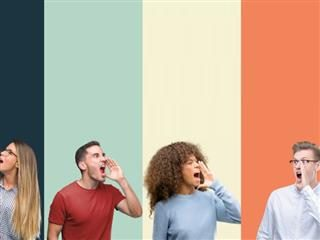 Group of people over vintage colors background shouting - Voice of the Customer concept