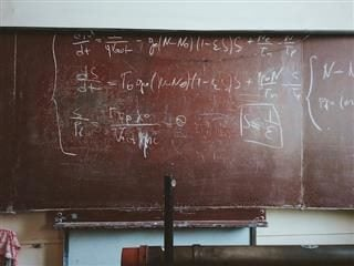 mathematical equation on a blackboard