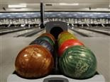 bowling balls in a bowling alley