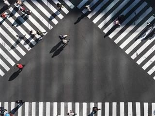 crosswalk with pedestrians