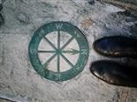 compass embedded in a sidewalk with close up of person's shoes where north points