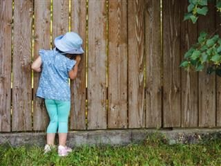 A young girl peeking through the slats in a wooden fence - sneak peek concept