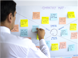 A businessman sticking post its in empathy map