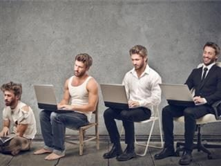 4 men in different stages of evolution of business. Evolution concept.