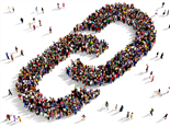 Large group of people seen from above gathered together in the shape of a link symbol - SEO Link Building concept