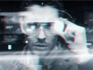 Office worker wearing 3d glasses with augmented reality screens over glitch effect background