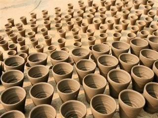 row upon row of clay pots in India