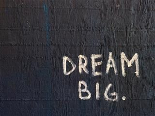 "handwritten text: ""dream big."""