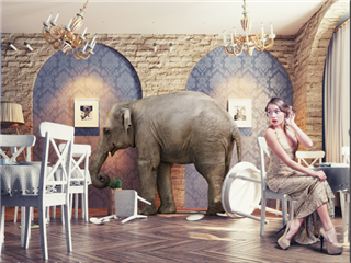 A chaotic scene in which an elephant is storming through a restaurant, while a seated well-dressed woman listens to the mayhem