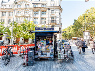 Neighborhood district of Chelsea, London, old vintage historic traditional sidewalk square with dailymail daily mail newsstand