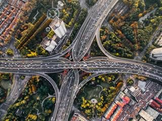 bird's eye view of a traffic intersection