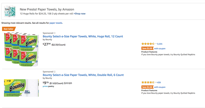 Amazon branded paper towels