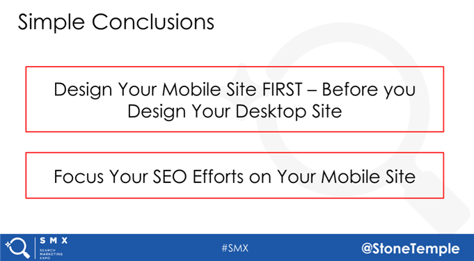 design your mobile site first and other SEO advice