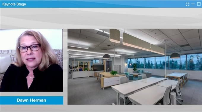 Screenshot of a presentation at Digital Workplace Experience 2020 by Dawn Herman, head of UX infrastructure at Google.