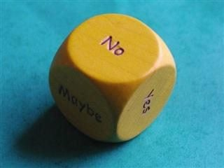 A dice with open-ended answers on each side.