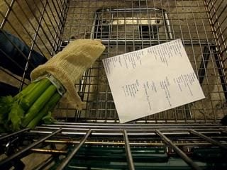 grocery cart and shopping list