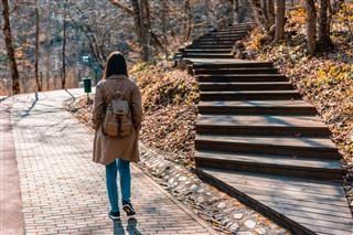 femme marchant sur le chemin