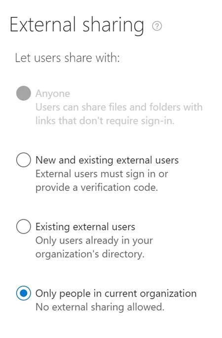 external sharing settings in SharePoint