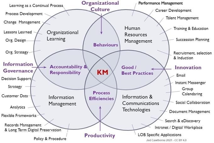 diagram of where the different elements within the workplace sit in relation to knowledge management