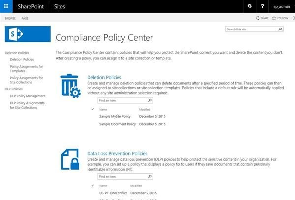 SharePoint Compliance Policy Center
