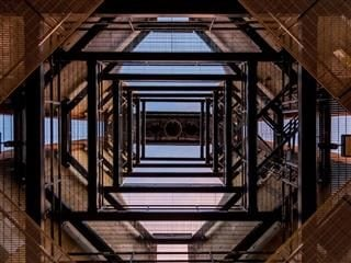 view of a tower's framework from below, looking up from inside