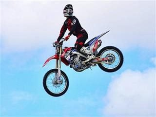 motorcyclist in the air