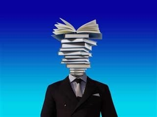 A man with open books for a head