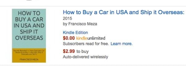 screenshot of amazon product on buying a car and shipping it overseas