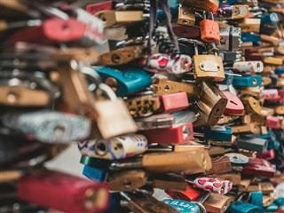 close up of  a large collection of locks