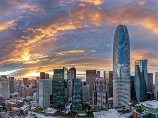sunset over downtown San Francisco, Salesforce Tower tallest building in the shot
